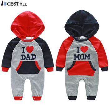 New Born Baby Clothes Bebe Romper Spring Autumn Cotton Hooded Printing I LOVE MOM&DAD Infant Jumpsuits For Baby Clothing