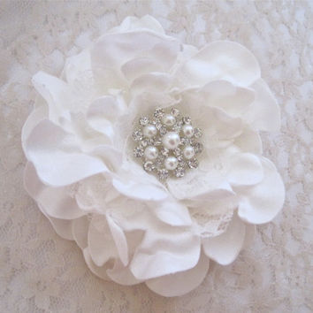 Ivory Satin and Lace Gardenia Bridal Wedding Flower Hair Clip with Pearl and Rhinestone Brooch Accent Bride  Bridesmaids Prom