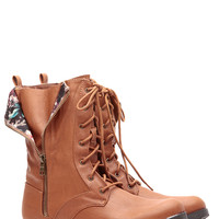Cognac Faux Leather Unzipped in Floral Lace Up Boots