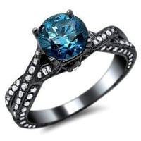 1.72ct Blue Round Diamond Pave Engagement Ring 14k Black Gold With a 0.65ct Center Diamond and 1.07ct of Surrounding Diamonds