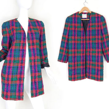 Vintage 1980s Plaid Boucle Oversized Coat - Size Medium - Womens Magenta Green Purple Red Checked Big Shoulder Jacket