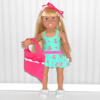 American Girl Doll Clothes Hot Pink and Green Nautical Swimsuit and Skirt with Hot Pink Tote Bag and Hair Ribbon fits 18 inch dolls