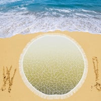"""Ombre yellow and white swirls doodles Circular Beach Shawl 59""""x 59"""" 