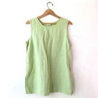 Vintage linen tank top. oversized tunic top. spring green minimalist modern tank. women's shirt top. Large XL