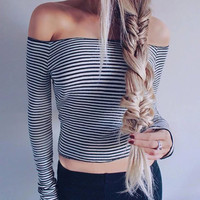 Elina 2016 woman off shoulder striped shirt cropped crop tops kawaii  femme fitness clothing Brandy  top tee tshirt s m
