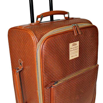 Terrida Texas Brown Leather Rolling Luggage TX530
