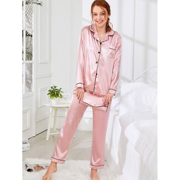 Contrast Binding Satin Pajama Set With Wallet PINK