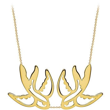 FLYING SEAGULL NECKLACE, Double Layered Bird Necklace Gold, Asymmetrical signature necklace, Bird Nautical jewelry, Valentines Day Gift