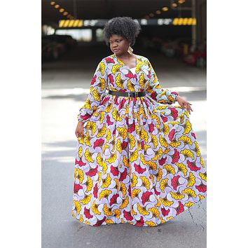 African Print Maxi Dress - White/Yellow /Red Floral Print.