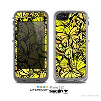 The Yellow Butterfly Bundle Skin for the Apple iPhone 5c LifeProof Case