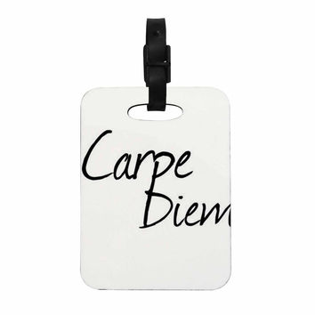 "Oriana Cordero ""Carpe Diem"" Black White Decorative Luggage Tag"