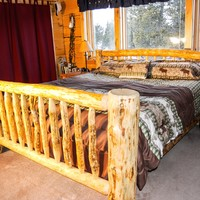 Handmade Lodgepole Pine Log Bed with Straight Headboard