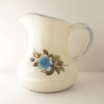 White ceramic porcelain pitcher with blue rose flower - Floral ceramic water pitcher water jug - Shabby chic or cottage chic decor