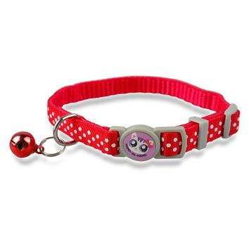 Nylon Small Puppy Kitten Kitty Cat Collar with Bell Variety of Colors and Print