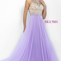 Long Sleeveless Chiffon Blush Prom Dress BL-11069