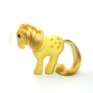 Butterscotch My Little Pony Vintage G1 Concave Feet Yellow MLP Earth Pony with Butterflies