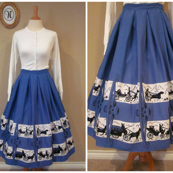 Vintage 1950's/50's Novelty Skirt. Wagon Wheels and Wild Carriages!!!