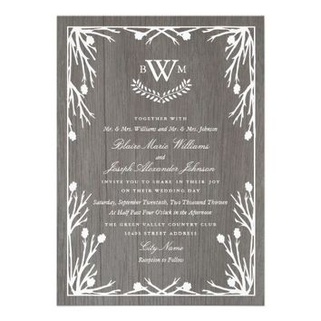 Rustic Country Monogram Wedding Invitation by Origami Prints
