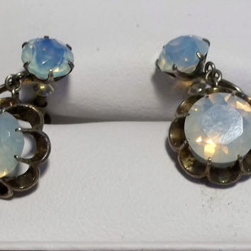 SALE! Antique Opalite Glass Earrings, Art Glass, Opals, Opalescent, c. 1930's, Antique, Estate Jewelry, Sterling Silver Settings, #113