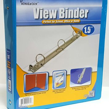 "1.5"""" Clear View Pocket Binder - Cyan Case Pack 12"