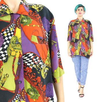 80s 90s Baroque Silk Shirt Fresh Print Hip Hop Mens Silk Shirt Button Down Novelty Print Silk Shirt Short Sleeve Shirt Unisex Womens (L)