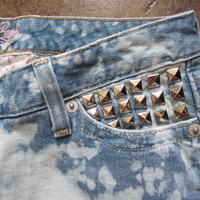 Sz 4 Studded & Distressed Lowrise Bleach Splatter Light Jean Shorts - Tumblr Style Denim Booty Shorts Summer Boho Chic Cutoffs Lowrise