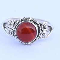 Oxblood red carnelian ring sterling silver ring silver ring gemstone ring stone ring Gemstone Ring Stone Ring Size US 5 6 7 8 9 10 11 12