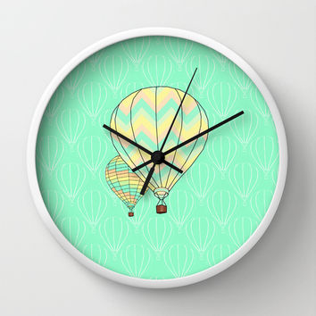 Hot Air Balloon Print Wall Clock by CandyBoxDigital