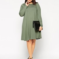 ASOS CURVE Swing Dress With Cross Back & Long Sleeves