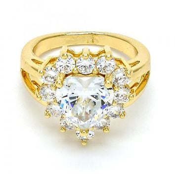 Gold Layered Mult-stone Ring, Heart Design, with Cubic Zirconia, Golden Tone