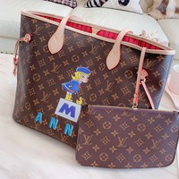 Louis vuitton LV fashion house sells a two-piece women's shoulder bag with logo, cartoon print