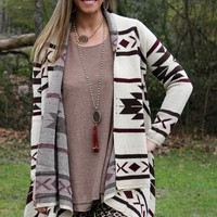 Cuddle By The Fire Ivory, Chocolate Brown and Burgundy Cardigan