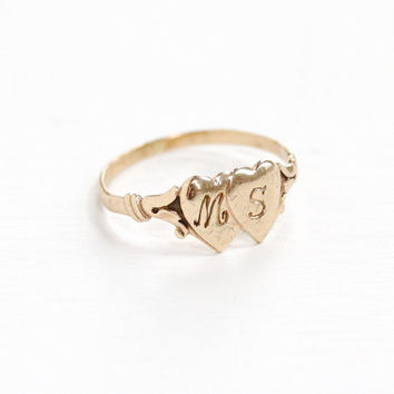 Vintage Art Deco 10k Double Heart M + S Ring - Size 4 Baby Midi Initial Signet Love Romantic Fine Pinky Ring Jewelry