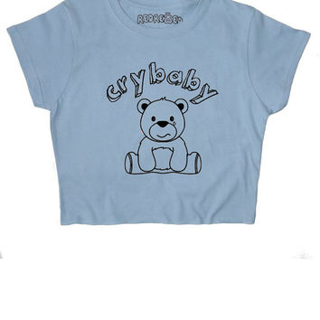 Crybaby Crop Top ∘ 90s Grunge ∘ Teddy Bear ∘ Kawaii ∘ Baby Girl ∘ Daddy ∘ Baby Pink Blue ∘ Womens Ladies ∘ S M L XL 2XL