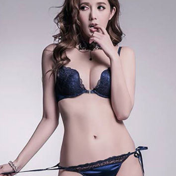 Edith Plunge Lace Bra Set (Navy)