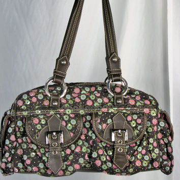 Isabella Fiori Corduroy, Leather &  Sequined Satchel Doctor Bag