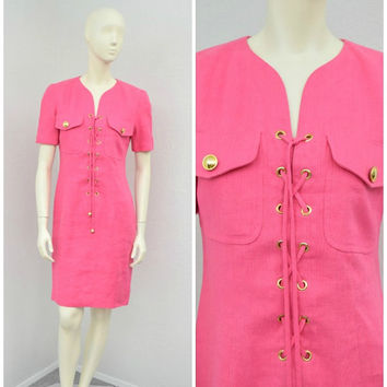 Vintage 80s Linen Bright Bubble Gum Pink Lace Up Dress, Constance Saunders, Military Dress, Business Casual Short Sleeve Knee Length, Size M