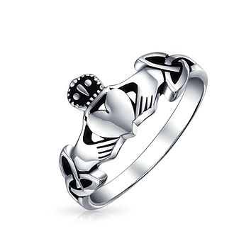 BFF Irish Celtic Claddagh Ring Thin Band 925 Sterling Silver