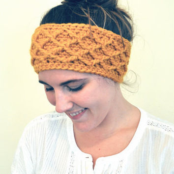 Cable Crochet Headband Ear Warmers Mustard Wool