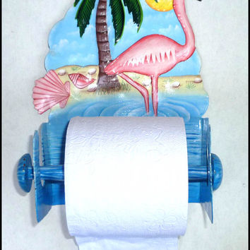 Painted Metal Art  Flamingo Toilet Paper Holder, Bathroom Decor, Flamingo Metal Bathroom Toilet Tissue Holder -Nautical Metal Art- K261-TP