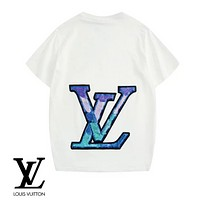 LV Louis Vuitton Fashion New Print Sequin Women Men Top T-Shirt White