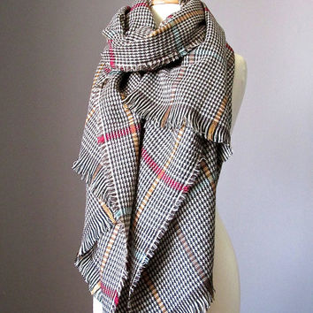 Houndtooth scarf, plaid scarf, blanket scarf, oversized winter scarf