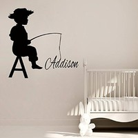 Wall Decor Vinyl Decal Sticker Fishing Custom Monogram Boy Personalized Name Baby Kids Nursery Room Living Room Home Interior Design Kg838