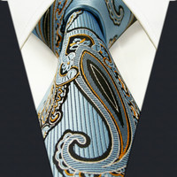 Paisley Blue Azure White Yellow Black Mens Neckties Ties 100% Silk Jacquard Woven