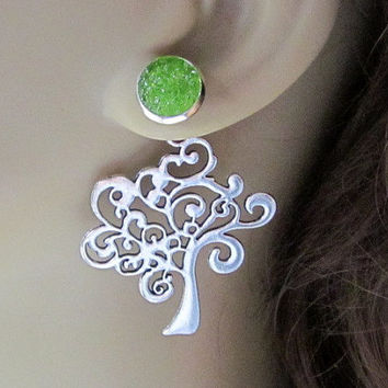 Back Front Earrings Stained Glass Jewelry Shamrock Green Druzy Stud Earrings Art Nouveau Silver Tree Reverse Earrings Interchangable