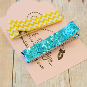 Hair Clip For Girls - Ribbon Wrapped Clippies - No Slip Alligator Hair Clip -  Summer Jewelry