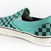 Vans Classic Slip-On Skate Shoes - (washed checker) pool blue - Shoes > Men's Footwear > Casual Shoes