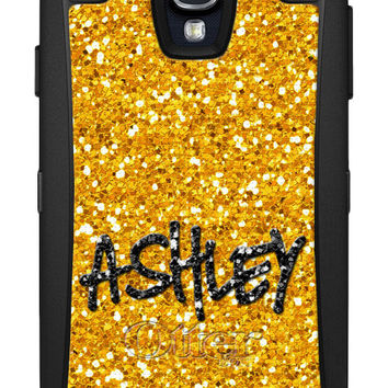 OTTERBOX DEFENDER Samsung Galaxy S5 S4 S3 Note 3 Case Custom Gold Glitter Bling Background Personalized Monogram