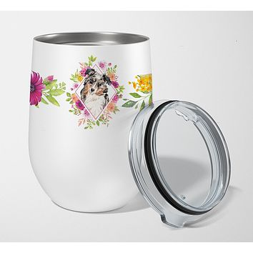 Australian Shepherd Pink Flowers Stainless Steel 12 oz Stemless Wine Glass CK4267TBL12
