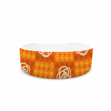 "Jane Smith ""Polka Dot Rose"" Orange Pattern Pet Bowl"